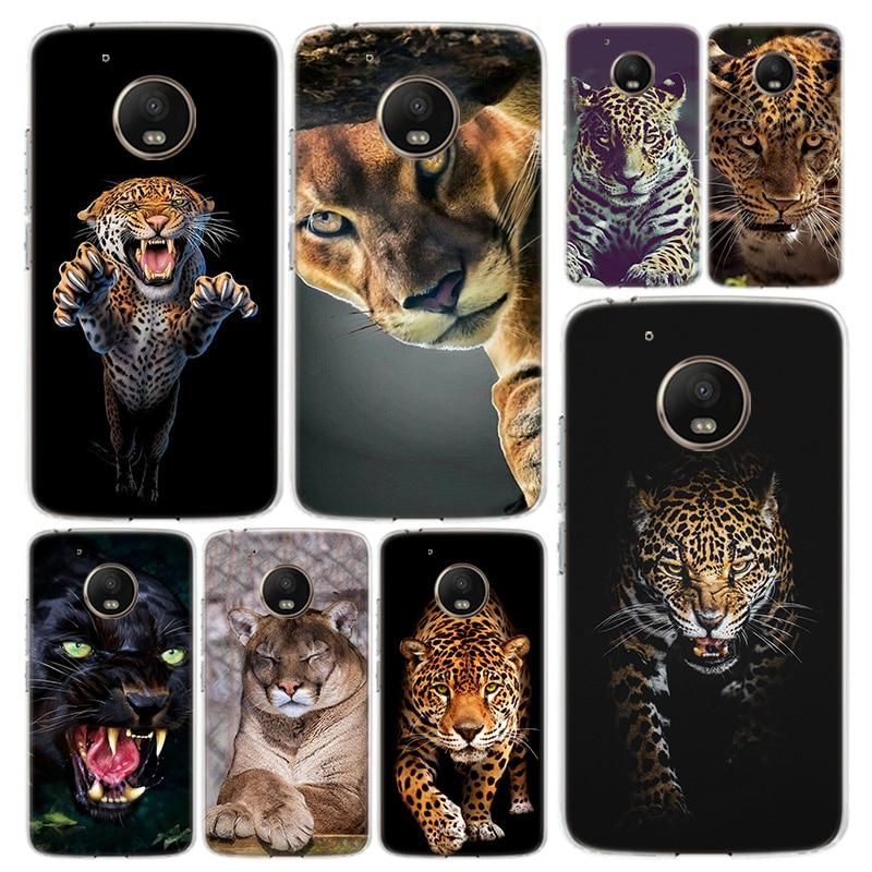 Leopardo negro Pantera teléfono caso funda para Motorola Moto G8 G7 G6 G5 G5S G4 E6 E5 E4 más poder, jugar una acción Macro visión Coq