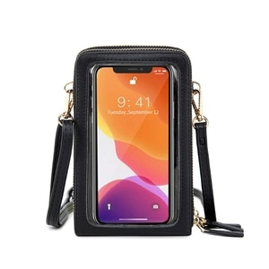 Lightweight Leather Phone Purse Small Crossbody Bag Mini Cell Phone Screen Touchable Bag Pouch Shoulder Bag for Women