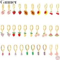 canner design pendants hoop earrings for women cute fruit charms jewelry diy summer fruits cherry 925 sterling silver earrings