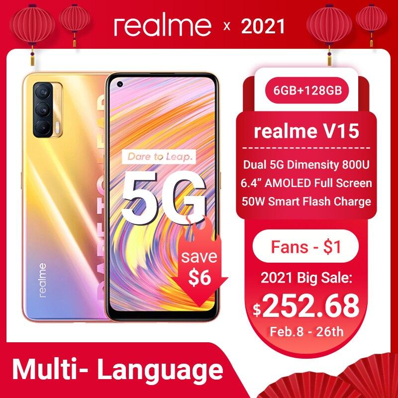 New realme V15 5G Smartphone 50W Fast Charge 6.4'' AMOLED Fullscreen 64MP Triple Cameras 4310mAh MTK Dimensity 800U Mobile Phone