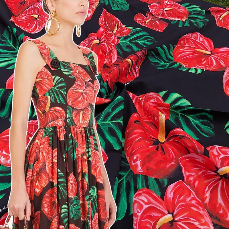 Tela de satén de seda 100X145cm a la moda con 100% de Flor de Fuego de Sicilia o imitación para mujer, vestido de verano, blusa, pijamas, costura DIY