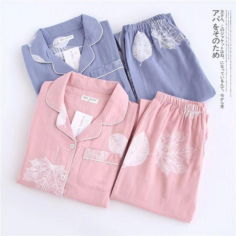 Pijama de Otoño de 2 piezas doble de gasa de algodón, Conjunto de pijama de manga larga, pijama de mujer, ropa de casa de Hojas de arce