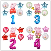 6pcs Cartoon Peppa Pig Foil Balloons 32inch Number Baby Boy Girl Helium Globos Happy Birthday Party