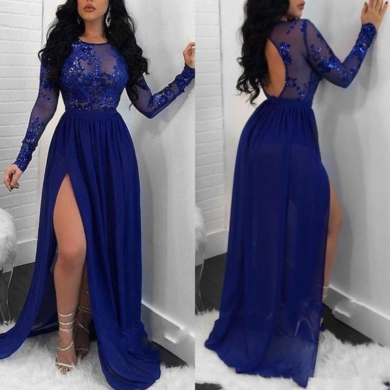 2020 Arabic Royal Blue A Line Chiffon Prom Dresses With Long Sleeves Sequins Plus Size Evening Gowns High Split Backless Vestido