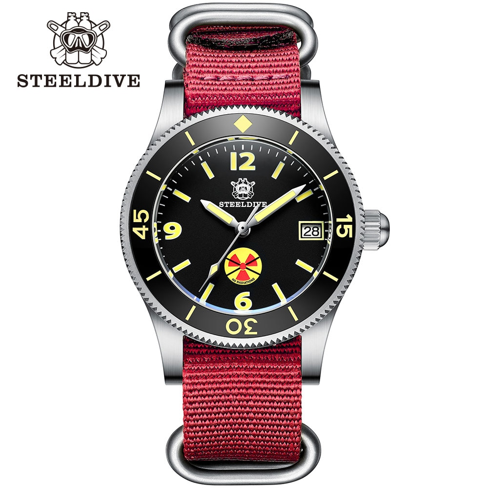 ساعات آلية للرجال باللون الأحمر من steel454 موضة 1952T غواص حزام نايلون صلب 316L ساعة يد ذاتية الملء