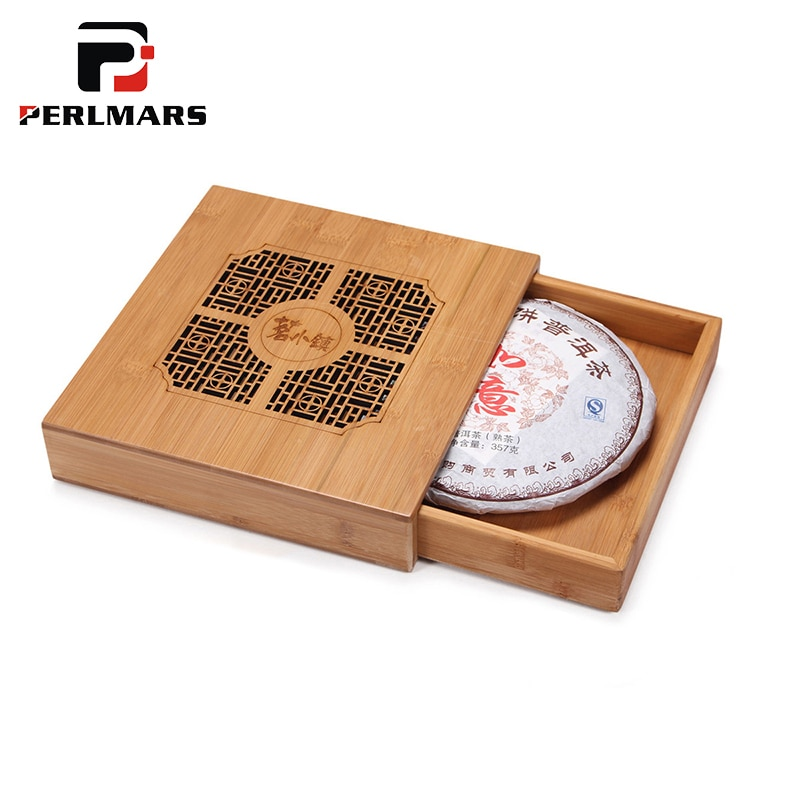 Caja de bambú Natural para pastel de té puerh, cajas de Caddies, latas de bandeja de té de madera, conjunto de kungfú, accesorios para tetera para almacenamiento de tartas 357g Puer