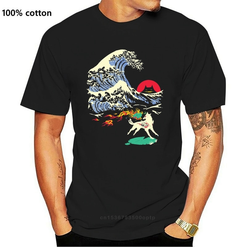 Rundhals Mode Die Große Welle Weg Von Oni Insel Okami T-shirt Für Männliche T Shirt Große Größe Homme T Hemd