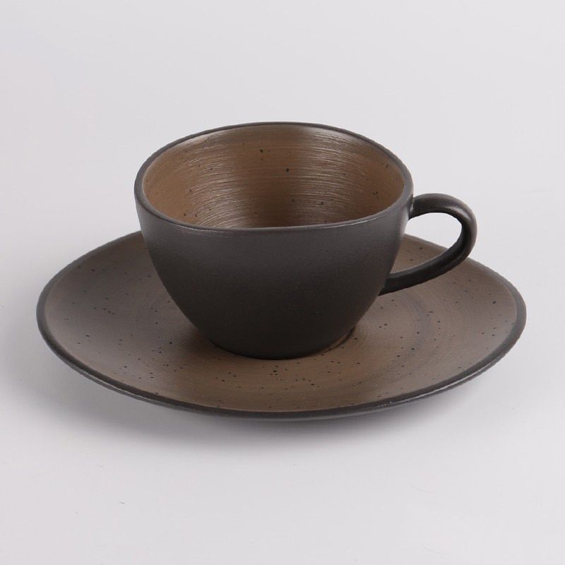 Taza de Café de Cerámica negra LUWU con platillos, tazas de café, vasos para beber