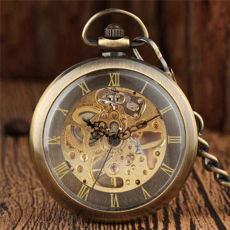 Bronze Antique Watches Men Women Mechanical Hand Winding Skeleton Pocket Watch Roman Number Fob Chain Clock Relogio De Bolso