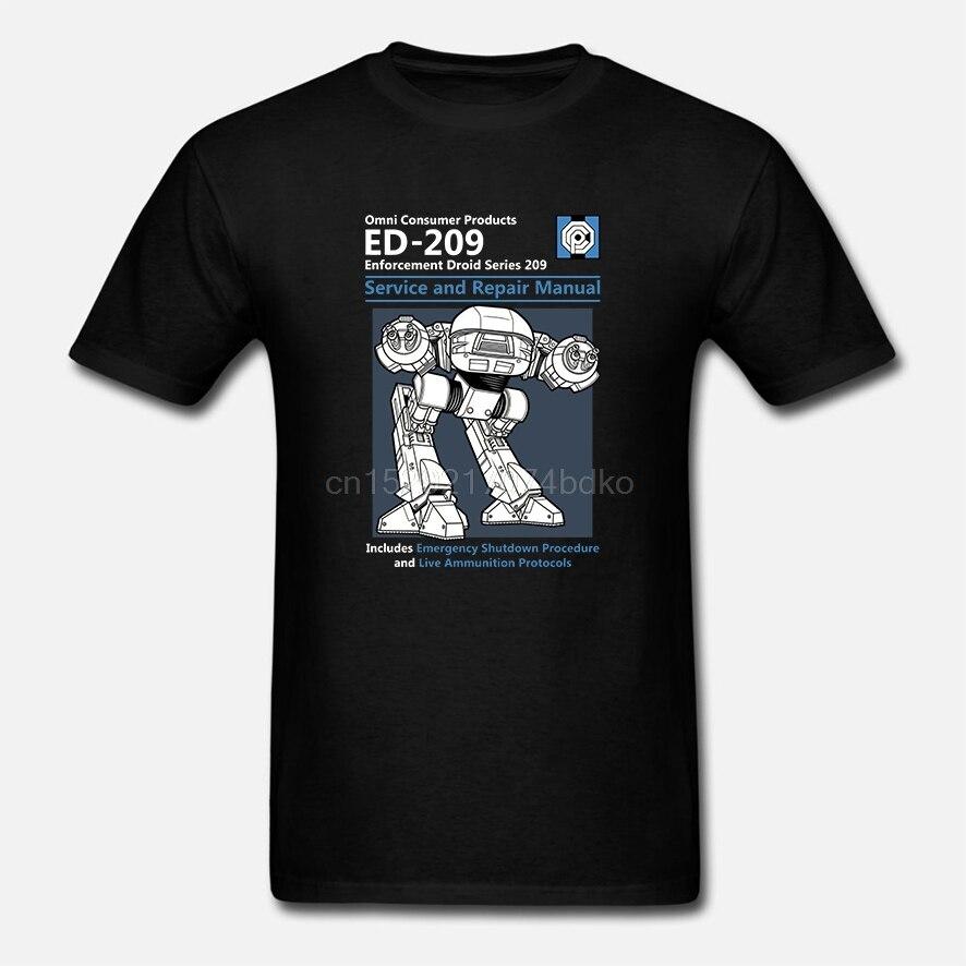 Camiseta de algodón con cuello redondo para hombre y manga corta Robocop Ed209 Manual de reparación y servicio
