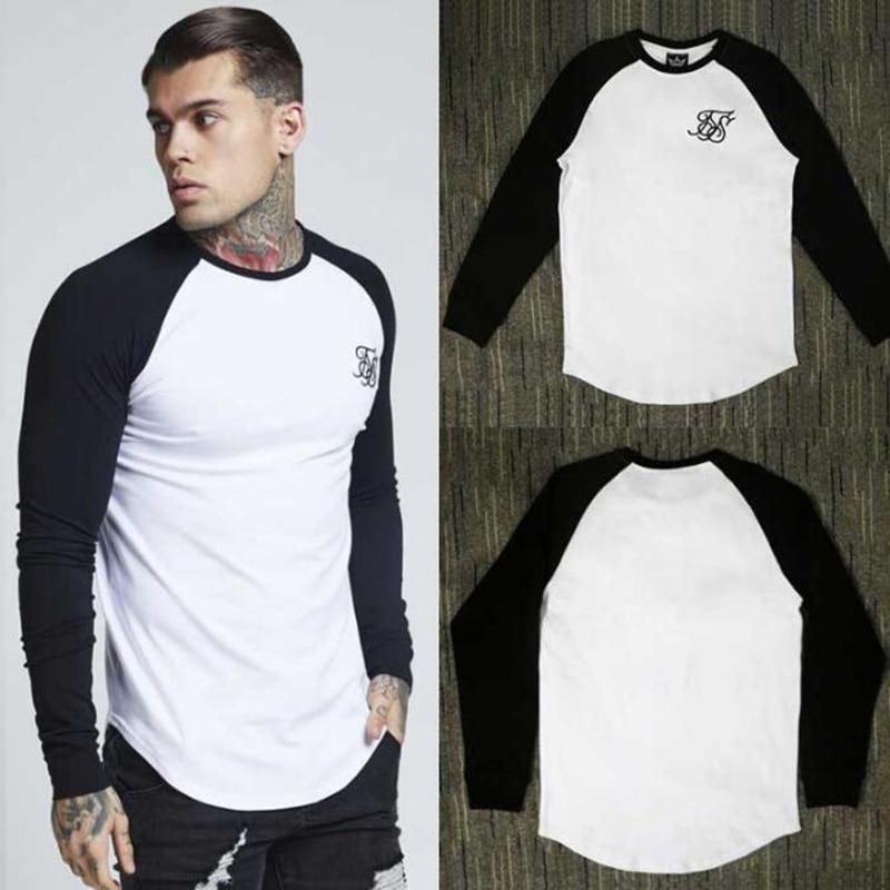 Camiseta bordada de seda Sik de marca de algodón de alta calidad para hombre, camiseta de manga larga con costura, Camiseta larga hip-hop para hombre