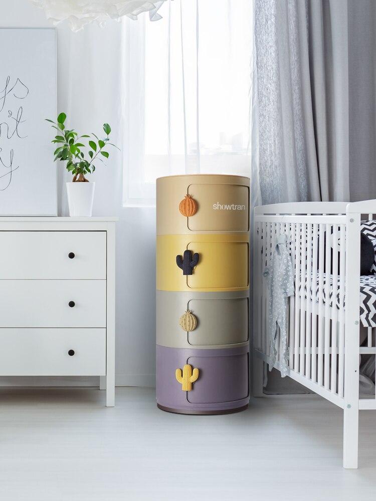 TT التطريز Sichuan قوس قزح تخزين خزانة مستديرة الأطفال خزانة خزانة من البلاستيك الراتنج السرير