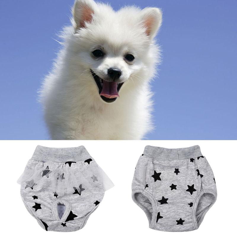 Lavable fisiológica Sanitary Printed Short Party pañal del pañal de encaje pajarita chica mascota ropa interior perro pañal para cachorro Pantalones