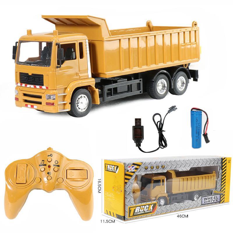 Rc سيارات شاحنة قلابة سيارة لعب للأطفال بنين هدايا عيد الميلاد الأصفر اللون الناقل الهندسة نموذج ألعاب للشاطئ