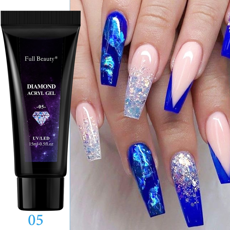 new15ml Shiny Glitter Sequin Gel Nail Polish Poly Extension Semi Permanent UV Builder Gel All For Ma