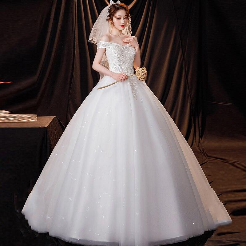 فستان الزفاف الوهم الخامس الرقبة قصيرة قبالة الكتف تول الدانتيل عارية الذراعين مطرزة التطريز الفاخرة الأبيض المرأة فستان زفاف G499