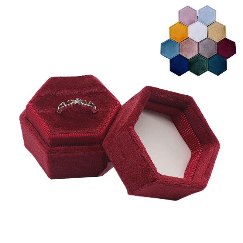 Caixa de anel da cerimônia do casamento do hexágono da caixa dobro do anel de grayvelvet com tampa destacável