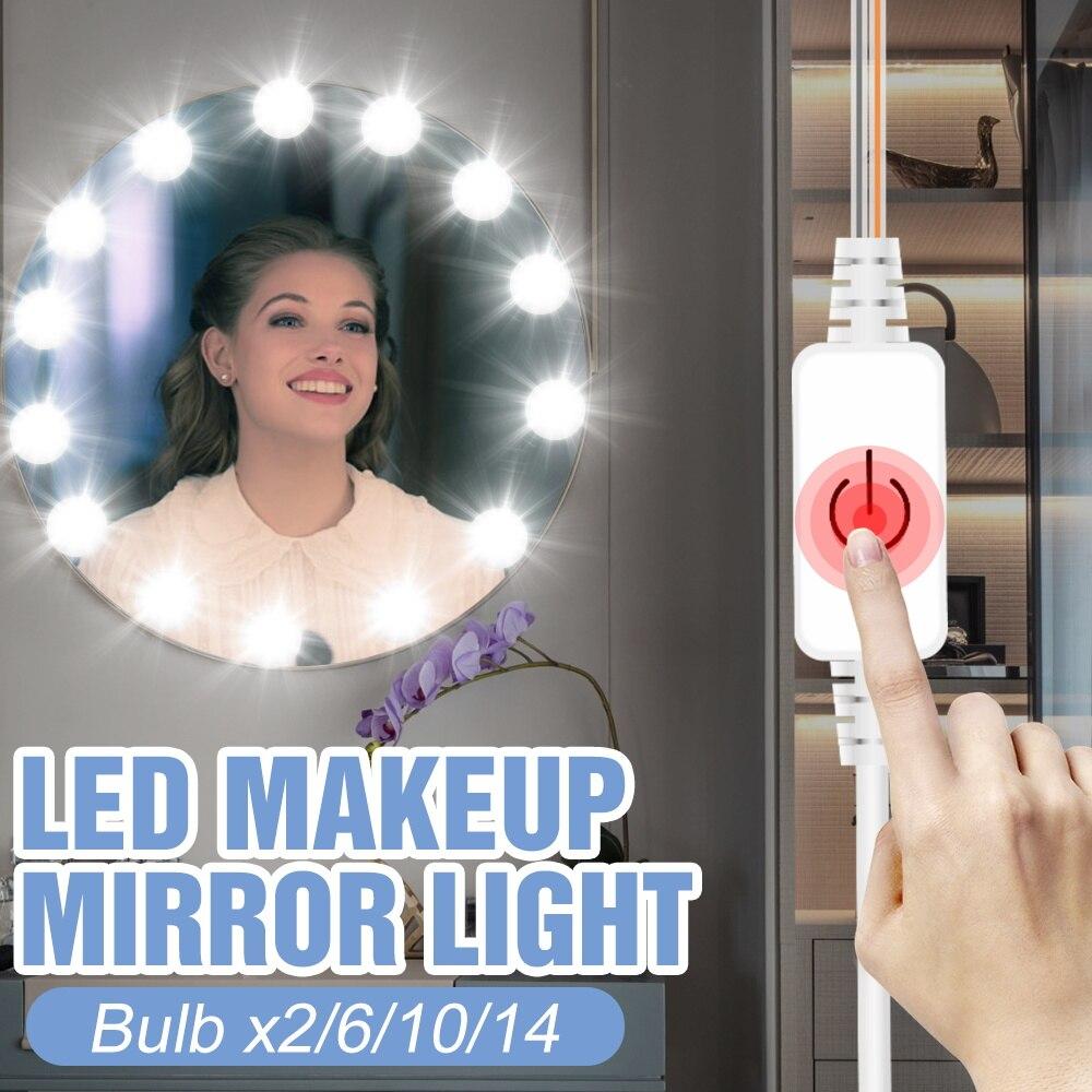 3 Colors 2 6 10 14 Bulb Kit LED Makeup Mirror Lamp USB Bathroom Vanity Light Bulb Dimming 12V Cosmetic Light Bulb Dressing Table