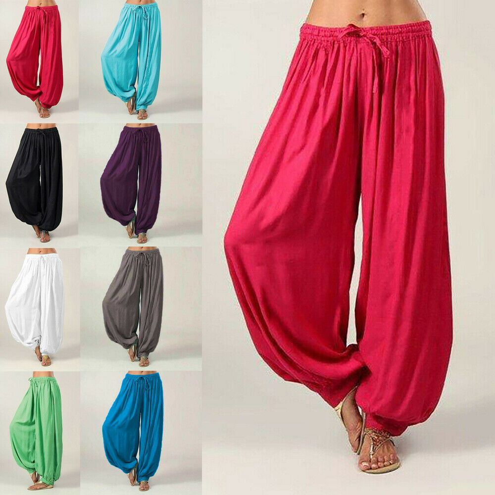 Hot Women Ali Baba Pants Aladdin Afghan Elastic Genie Hippy Jumpsuit Cotton Harem Loose Casual Ladies Trousers Dance Yoga Pants