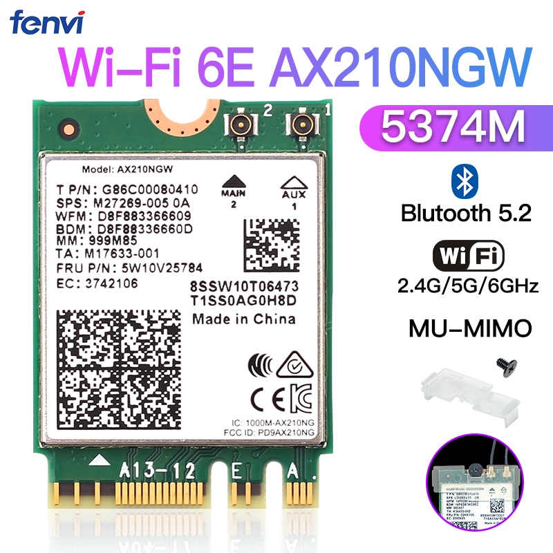 Cartão sem Fio para Intel Tri-band 6g Ax210ngw 802.11ax Wi-fi 6e Ax210 M.2 Ngff Bluetooth 5.2 Wifi Rede Wlan 5374mbps 2.4g – 5g