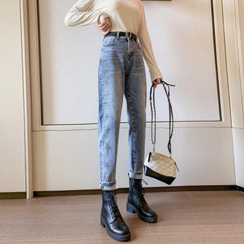 Xuan Ya High Waist Jeans Women's Slimming High-Rise Diamond-Embedded Loose Straight Wide Leg All-Mat