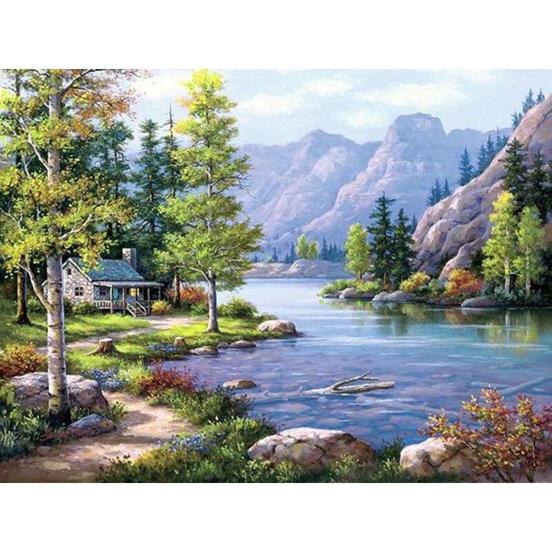 "100% completa 5d diy daimond pintura ""tree & lake & cabin"" 3d pintura diamante em volta strass diamante pintura bordado paisagem"