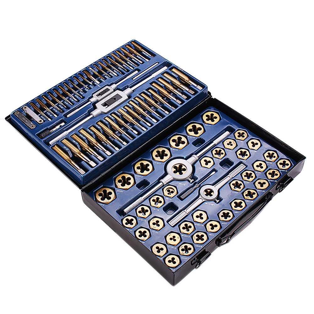 86 Uds Tungstem, juego de troqueles de titanio Chapado en acero, rosca métrica, SAE Grifo y Die Set, conjunto de herramientas métricas de combinación duraderas