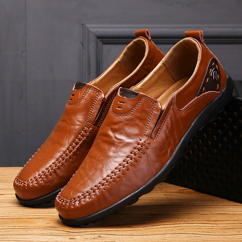 new suede leather with mesh shoe men breathable casual shoes leather flats plus size soft driving men shoes loafers moccasins Brand Men Leather Shoes Luxury Casual Shoes Men Loafers Soft Leather Footwear Breathable Slip On Driving Men  Plus Size