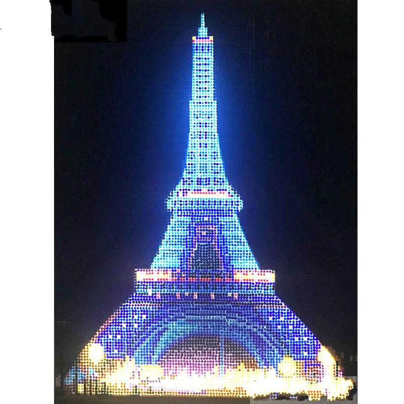 """Taladro redondo ligero 5D DIY pintura de diamante """"Torre Eiffel"""" 3D bordado punto de cruz 5D decoración regalo 30x40cm"""