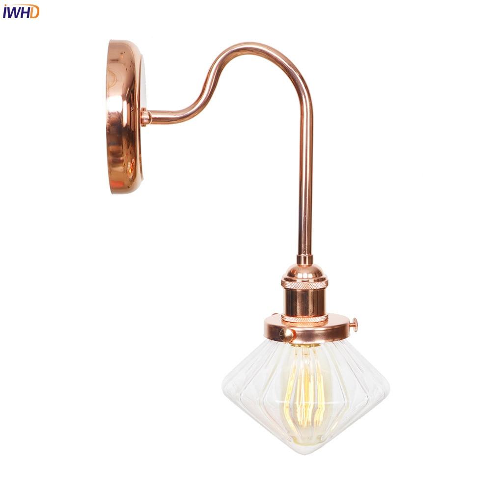 IWHD hierro rosa dorado nórdico LED lámpara de pared vidrio transparente creativo diamante pared luces Simple espejo de cristal Luz Retro Accesorios