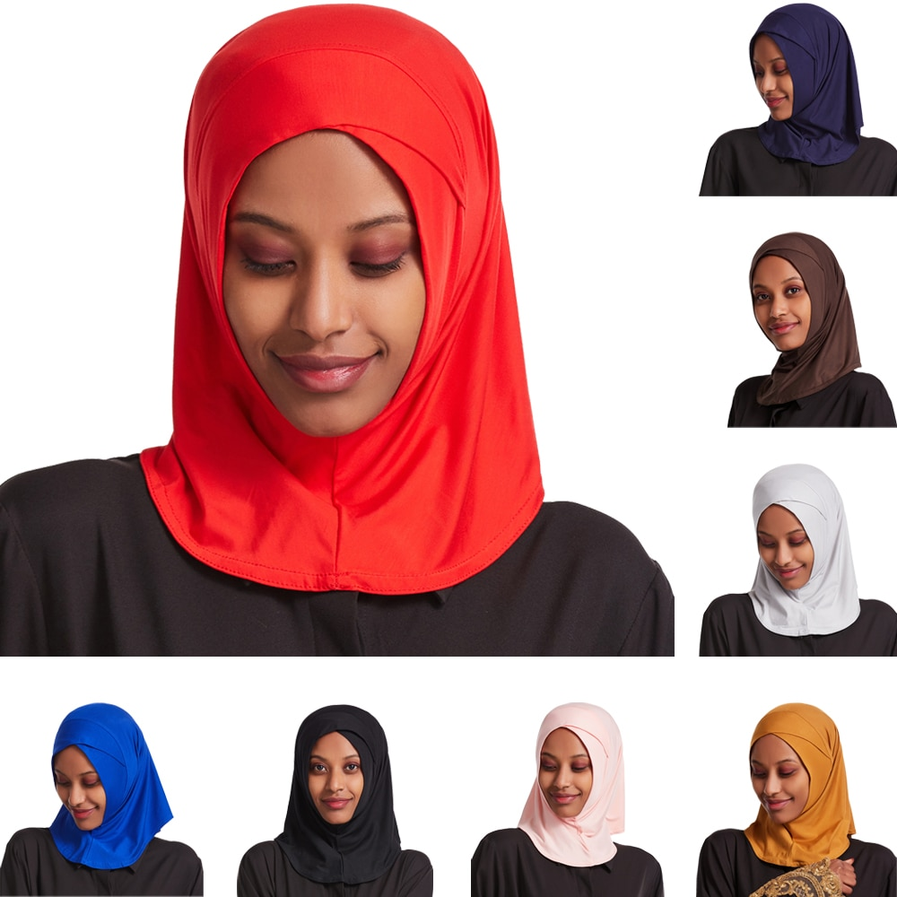 One Piece Muslim Women Hijab Turban Cross Amira Ready To Wear Instant Scarf Islam Headscarf Niqab Shawl Arab Wrap Ninja Ramadan
