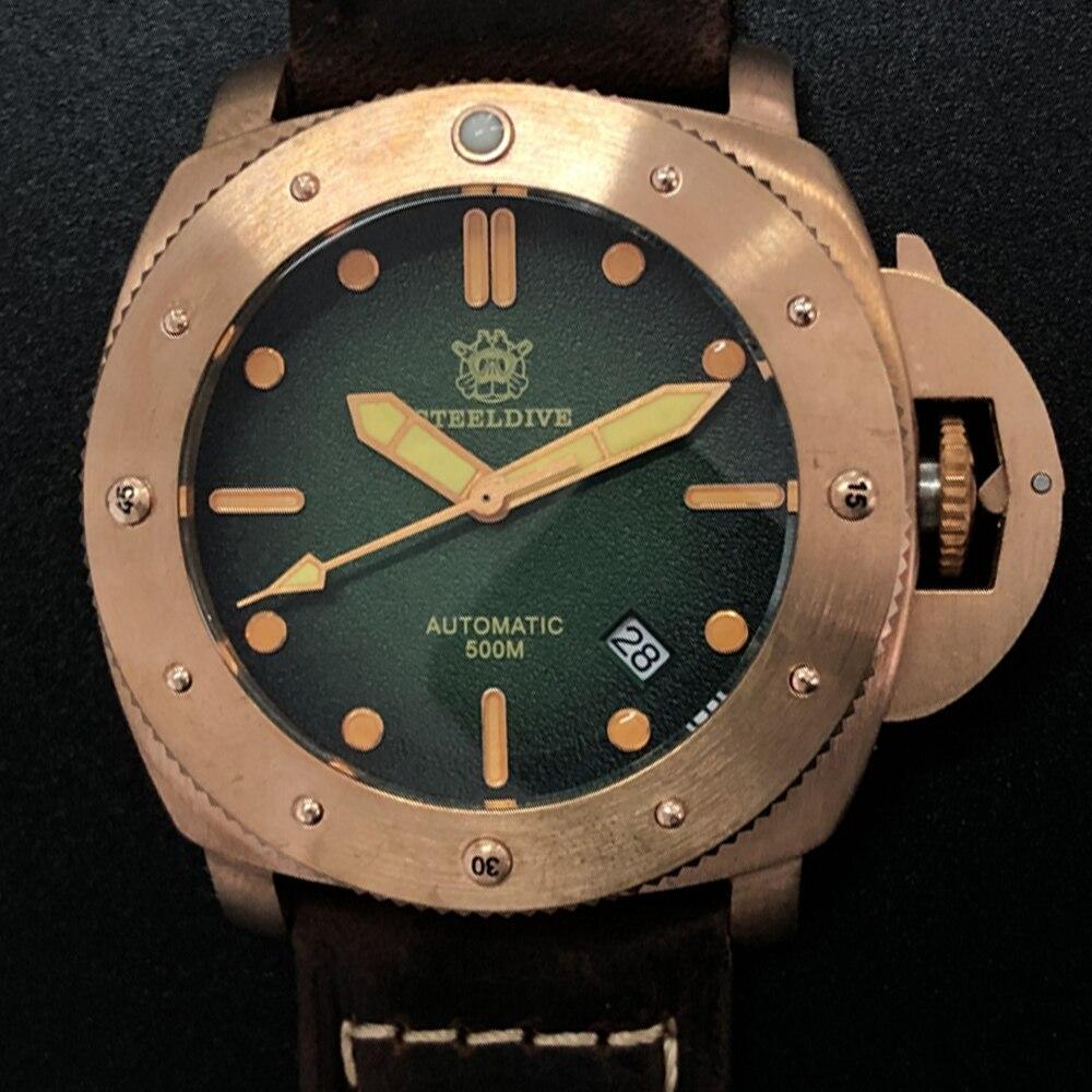 Reloj Mecánico de bronce para buceo, reloj de pulsera automático NH35 de lujo para hombre de 500M, relojes militares de latón para hombres 2020