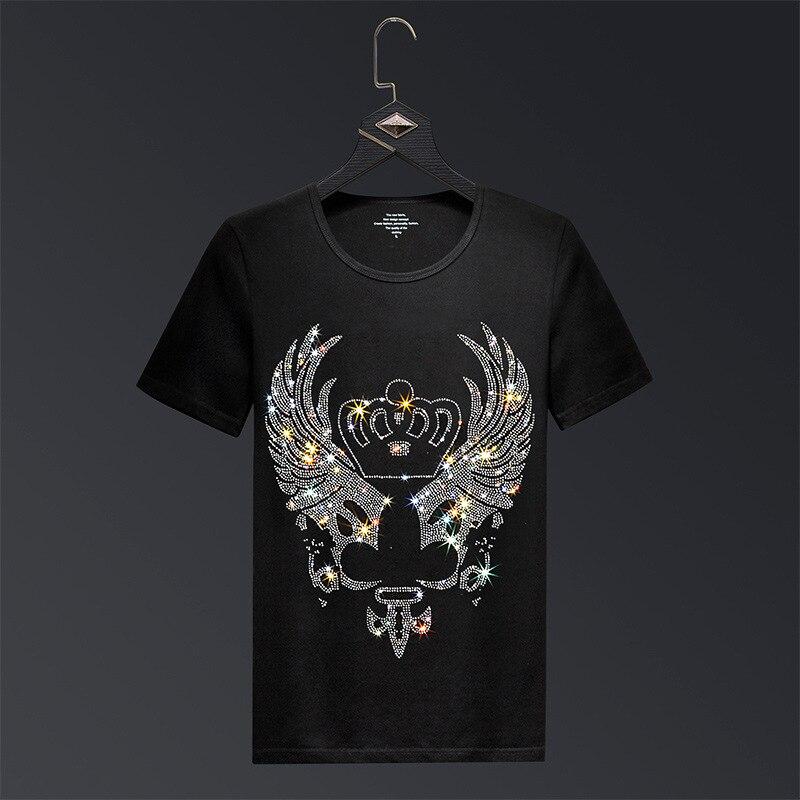 2019 Crown Rhinestones T Shirts Men Brand Short Sleeve Fashion Man Streetwear O Neck Slim Modal Cotton Tshirts Plus Size 6XL