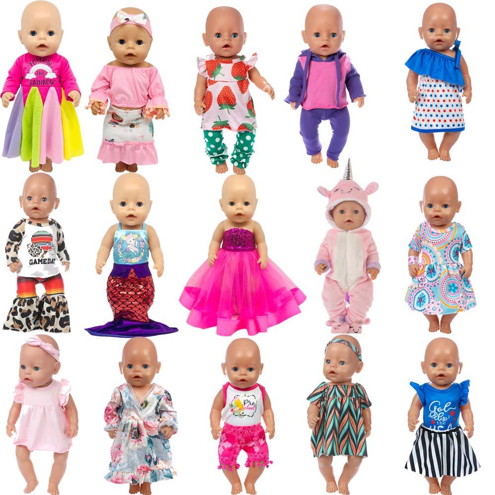 5 unids/set conjunto para muñeca para 17 pulgadas 43cm Baby Doll monos bonitos peleles ropa de muñeca (al azar 5 piezas)