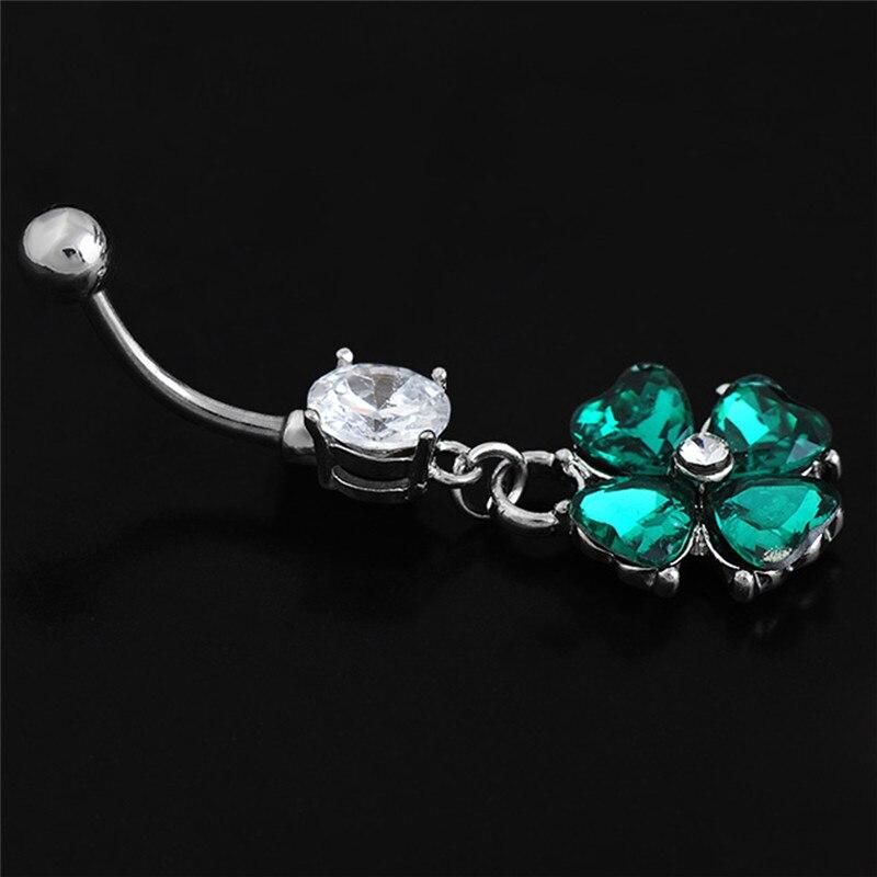 2018 novo trevo jóias do corpo sexy retro feminino belly button anéis piercing umbigo anel de cristal umbigo piercing jóias venda quente