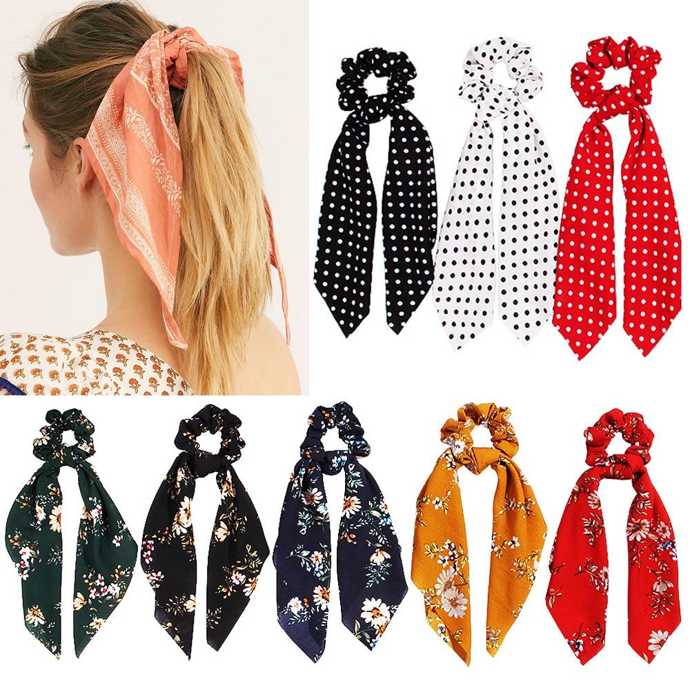 Verano moda Boho Cola de Caballo bufanda cuerda elástica para el cabello para mujeres lazos para el cabello bandas para el cabello cinta para el cabello