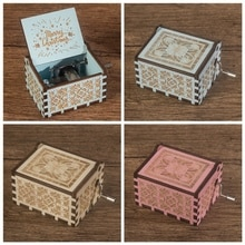 Wood Music Boxes Hand Crank Classic Antique Carved Wooden Musical Boxes Castle In The Sky For Kids G