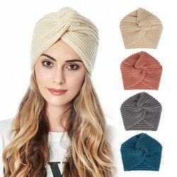 Boho estilo feminino nó bandanas moda tricô quente lenço muçulmano 2020 outono inverno turbante boné cor sólida cruz