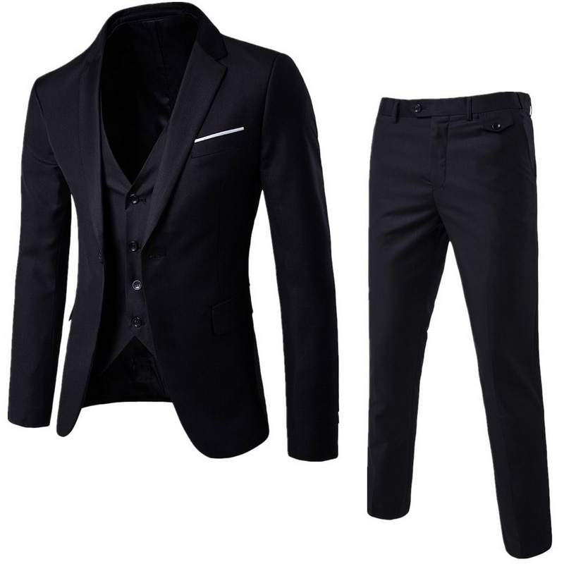 2021 Men's Fashion Slim Suits Men's Business Casual Groomsman three-piece Suit Blazers Jacket Pants Trousers Vest Sets