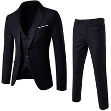 2021 Men's Fashion Slim Suits Men's Business Casual Groomsman three-piece Suit Blazers Jacket Pants