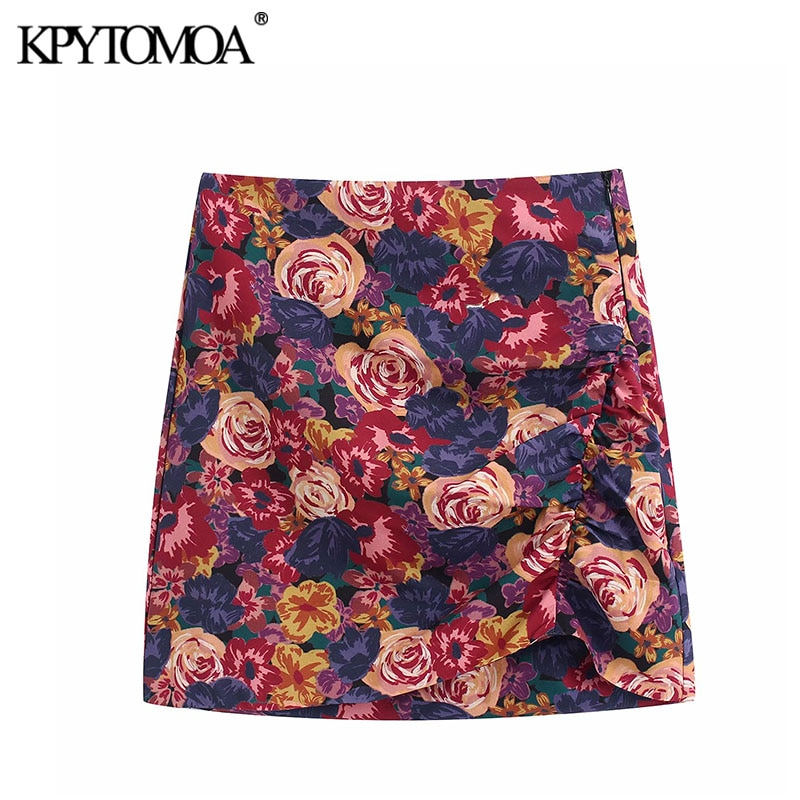 Mini falda Vintage elegante con estampado Floral, detalle fruncido, Mujer, moda 2020, cintura alta, falda femenina con cremallera, Faldas Chic para Mujer
