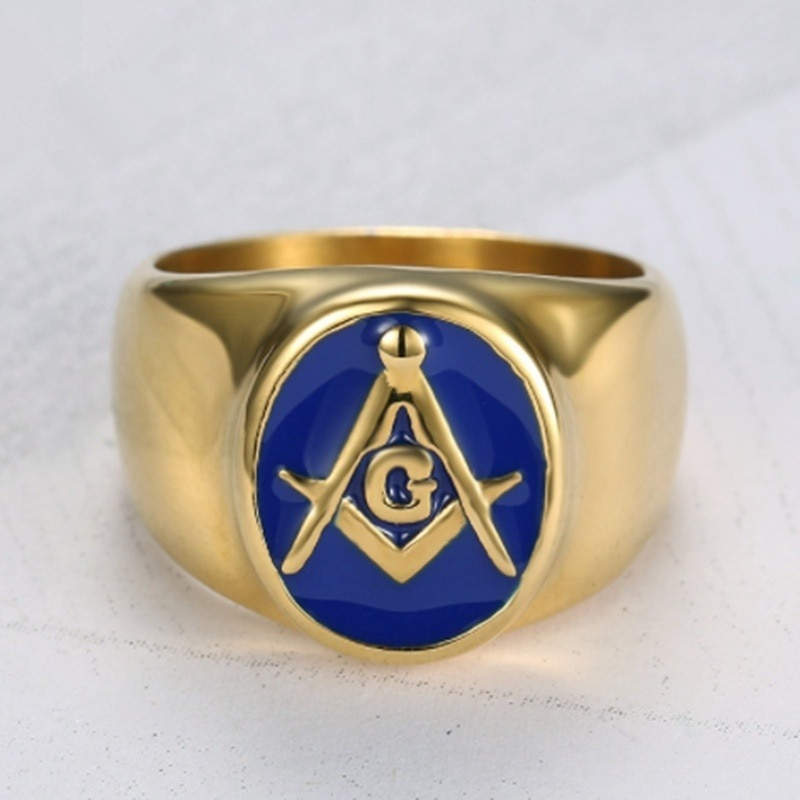 Vintage estilo religioso azul esmalte masonic anel clássico punk rock festa jóias masculinas Anéis    -