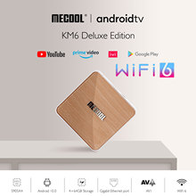 Mecool KM6 Amlogic S905X4 TV Box Android 10 4GB 64GB Wifi 6 BT5.0 Google certifié Support vocal AV1 USB3.0 1000M décodeur