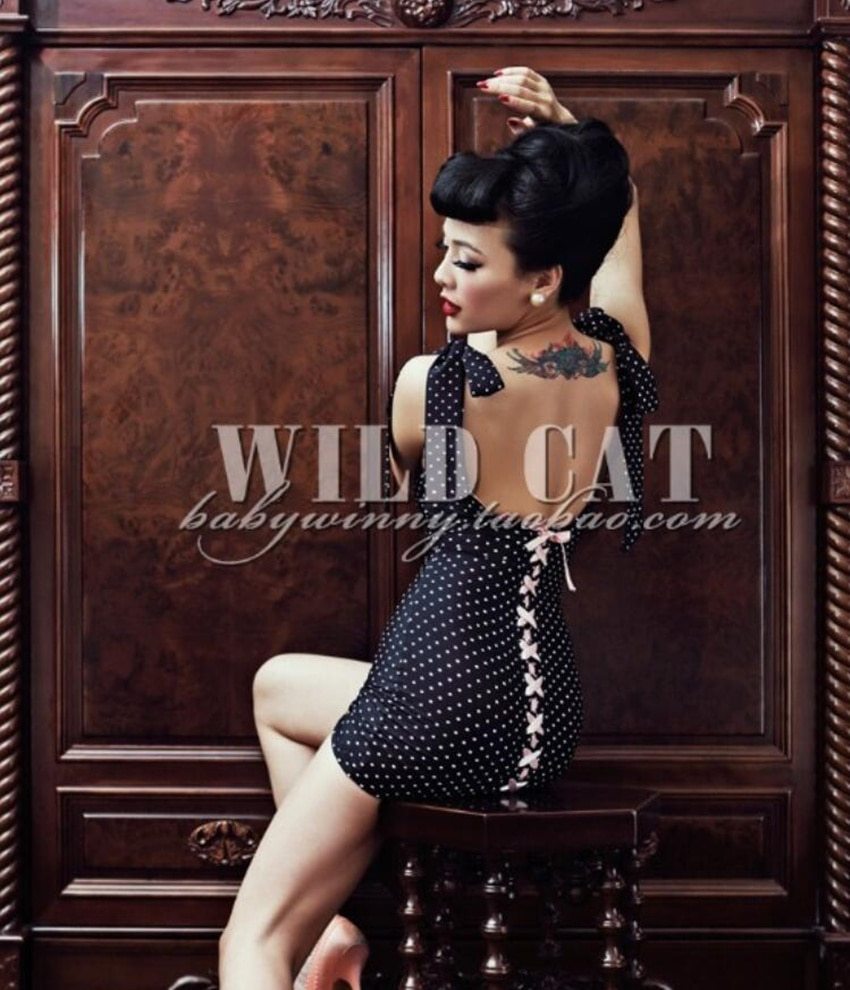 Le Palais Vintage negro Dot Pin Up Backless Mini vestido arco espagueti Strap Bandage ceñido al cuerpo Vestido corto bata Mujer Vestidos
