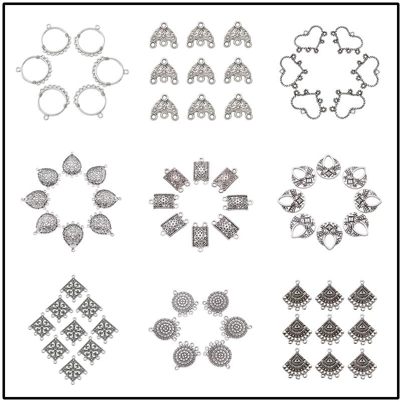 20 piezas sombrero de plata antiguo/flor/forma de Luna estilo tibetano componentes de araña conectores para la fabricación de collares de pendiente DIY