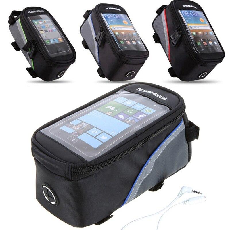 PU Material Waterproof Bicycle Bag Bike Frame Front Top Tube Bag Touch Screen for Phone MTB Moutain Road Bike Bag