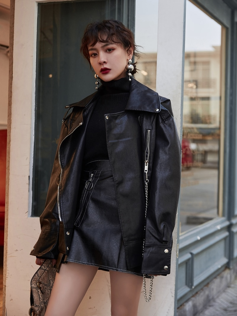 New Womens PU Leather Loose Short Jacket Lapel Motorcycle Coats Moto Biker Style Outwear Chains Black Apricot S254 enlarge