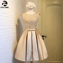 2020 Autumn Banquet Short Gold Dress A Line Cap Sleeve Lace Appliques Satin Girls Formal Party Dress