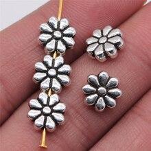 WYSIWYG 8 шт./лот амулеты маленький цветок бусины 9x9 мм античный серебряный цвет для ювелирных изделий Аксессуары