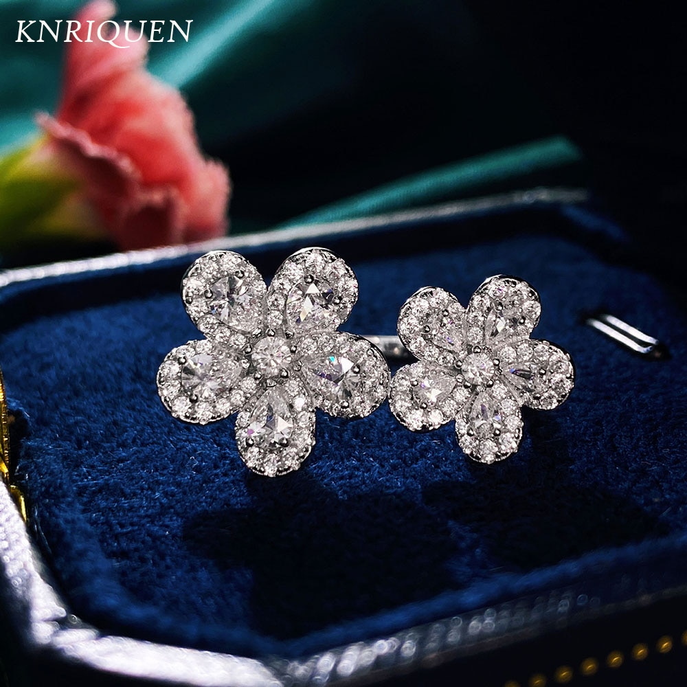 Luxury 925 Sterling Silver Flower-Shape Created Moissanite High Carbon Diamond Wedding Cocktail Party Adjustable Rings for Women